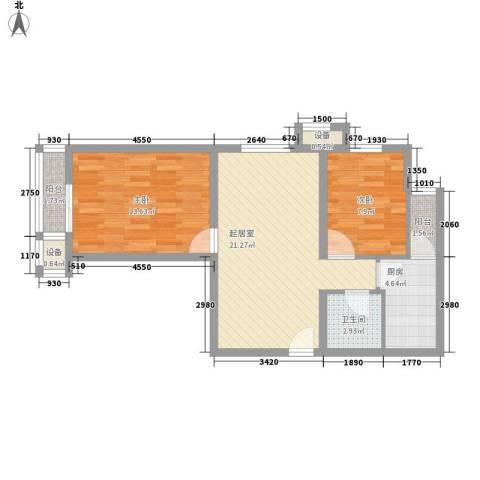 福湾新城夏雨苑B区2室0厅1卫1厨80.00㎡户型图