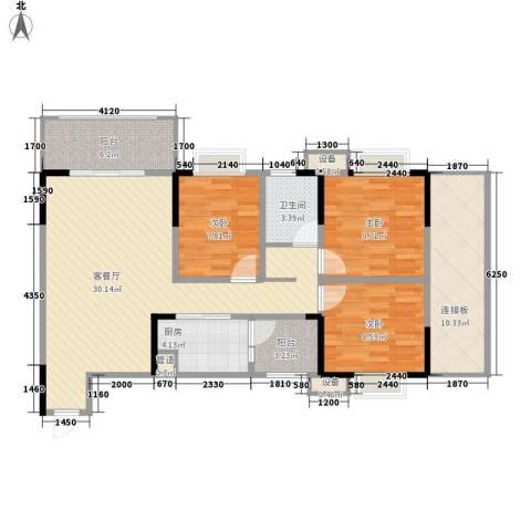 树高卡地亚3室1厅1卫1厨94.00㎡户型图