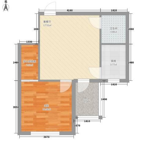 圣苑山水1室1厅1卫1厨59.00㎡户型图