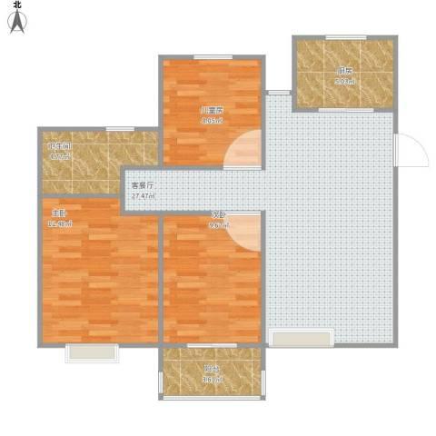 中瑾翰铂府3室1厅1卫1厨96.00㎡户型图