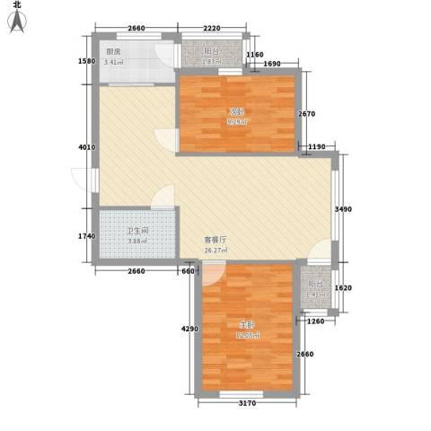 圣苑山水2室1厅1卫1厨82.00㎡户型图