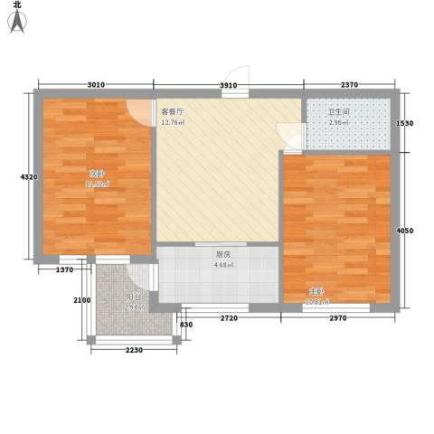 圣苑山水2室1厅1卫1厨64.00㎡户型图