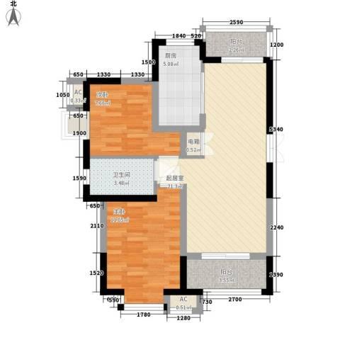 高巢2室0厅1卫1厨82.00㎡户型图