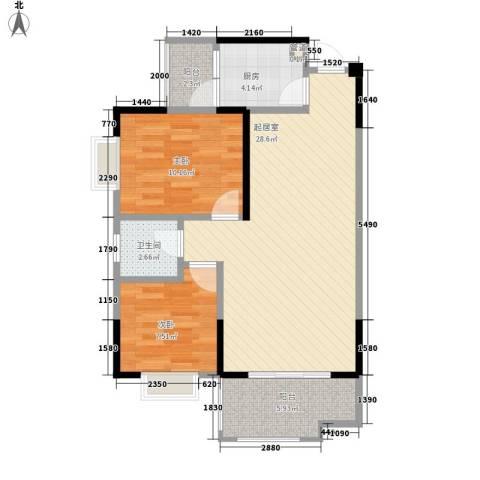 树高卡地亚2室0厅1卫1厨75.00㎡户型图