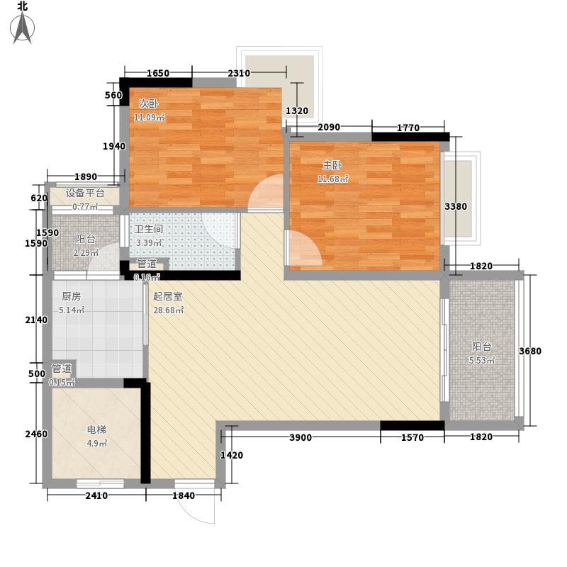 天美小岛83.00㎡10栋04单位户型2室2厅