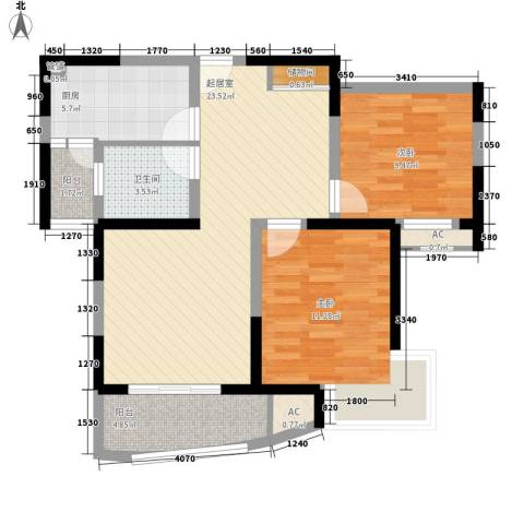 恒力锦沧花园2室0厅1卫1厨92.00㎡户型图