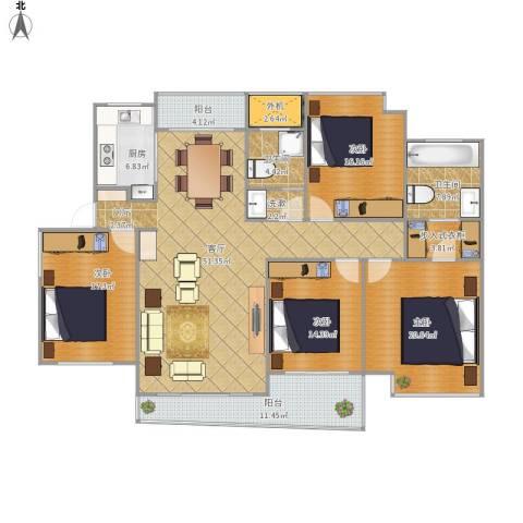 东湖大郡4室1厅2卫1厨219.00㎡户型图
