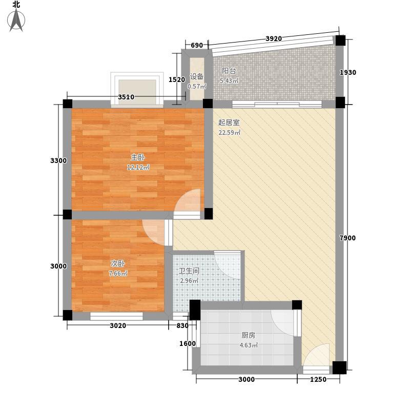 鑫金怡园7.21㎡A户型2室2厅1卫1厨