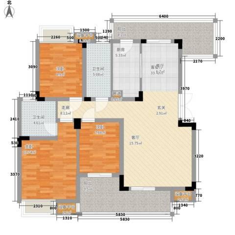 义和故事水云涧3室1厅2卫1厨144.00㎡户型图