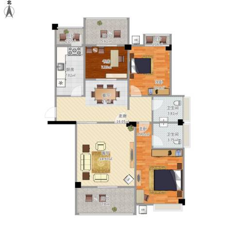 武夷嘉园3室1厅2卫1厨136.00㎡户型图