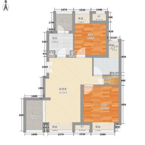 新浦江城别墅2室0厅1卫1厨85.00㎡户型图