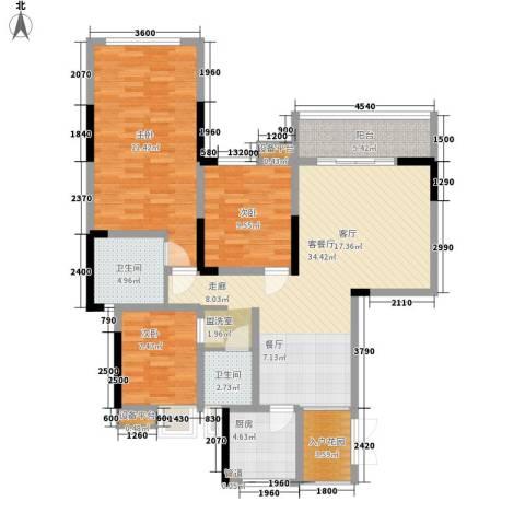 义和故事水云涧3室1厅2卫1厨138.00㎡户型图