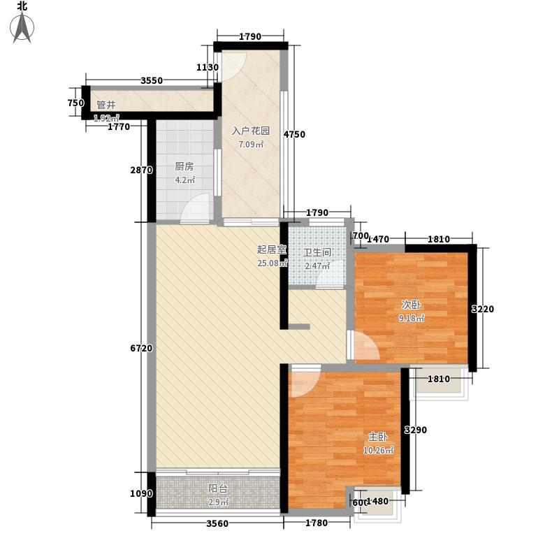 长江楚韵80.00㎡三期联排楼栋T1B户型2室2厅