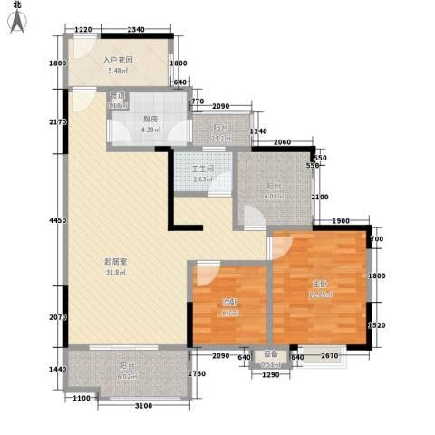 树高卡地亚2室0厅1卫1厨89.00㎡户型图
