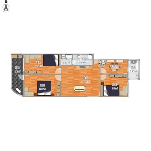 燕城苑小区3室1厅2卫1厨108.00㎡户型图
