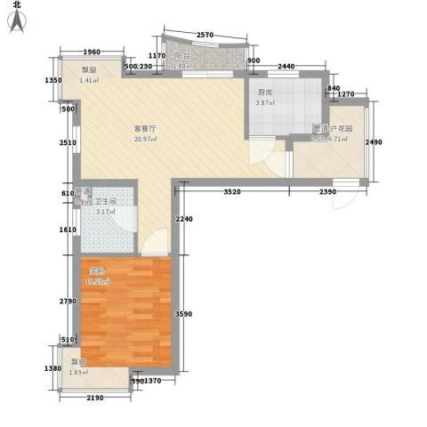 金梅雅苑1室1厅1卫1厨65.00㎡户型图
