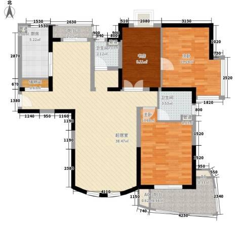 恒力锦沧花园3室0厅2卫1厨138.00㎡户型图