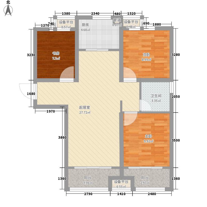 紫悦华庭102.00㎡户型3室2厅