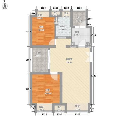 新浦江城别墅2室0厅1卫1厨86.00㎡户型图