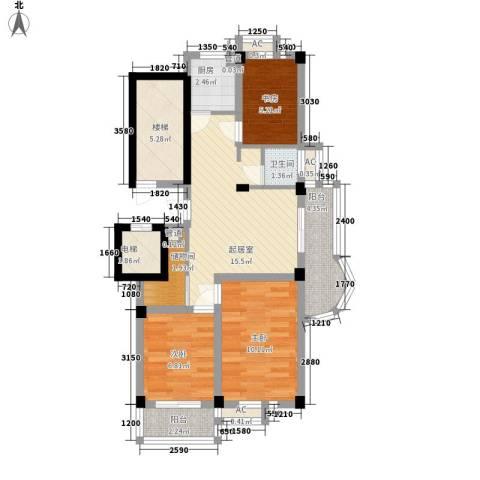 新浦花园3室0厅1卫1厨90.00㎡户型图