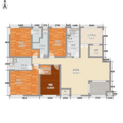 新浦江城别墅4室0厅3卫1厨198.00㎡户型图