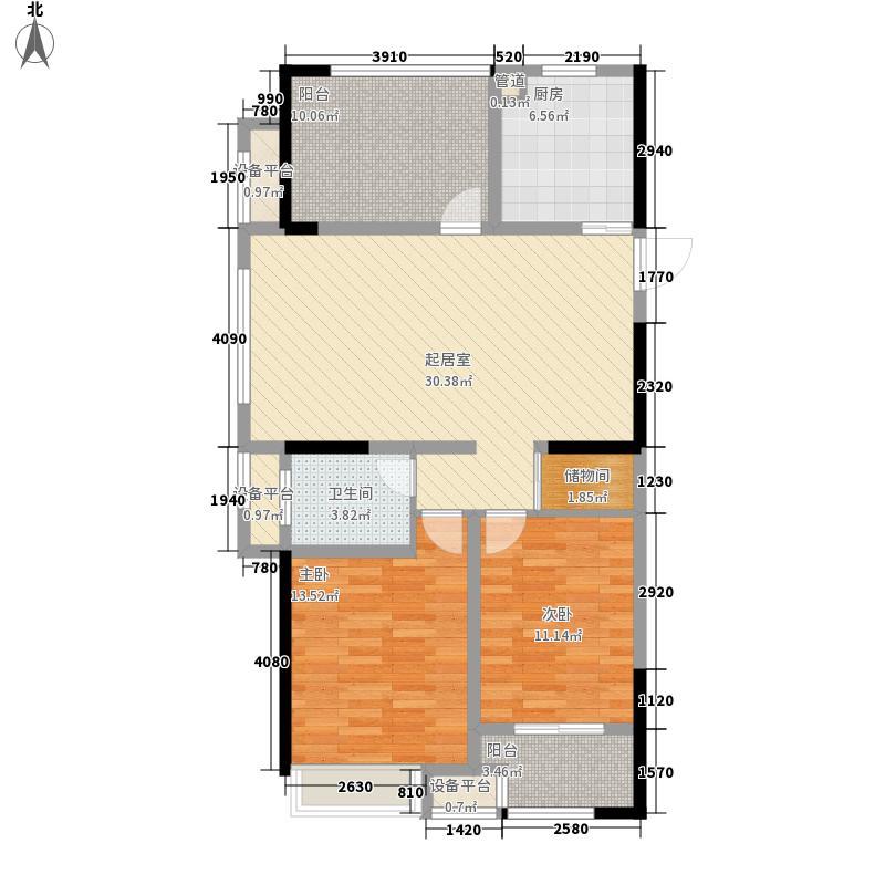 港龙紫荆城120.00㎡5#楼E1户型3室2厅