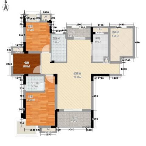 东方香颂3室0厅2卫1厨115.00㎡户型图