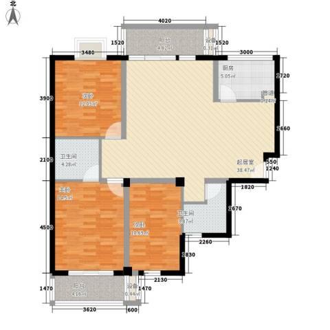 华林中央公馆3室0厅2卫1厨127.00㎡户型图