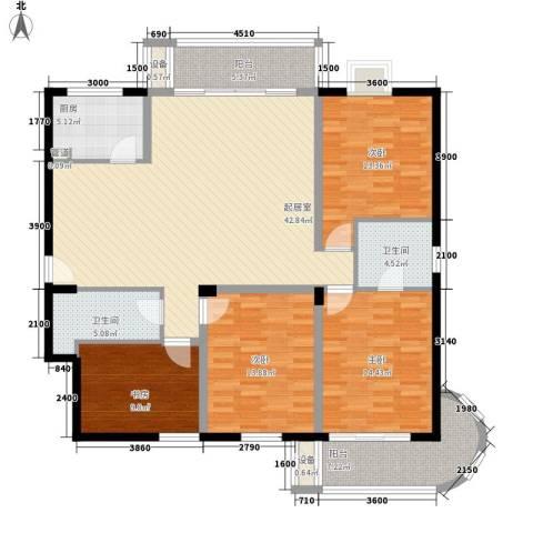 华林中央公馆4室0厅2卫1厨146.00㎡户型图
