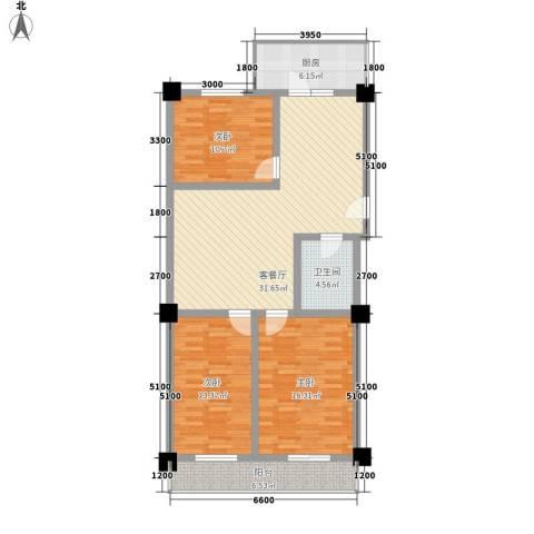 东港嘉园3室1厅1卫1厨127.00㎡户型图