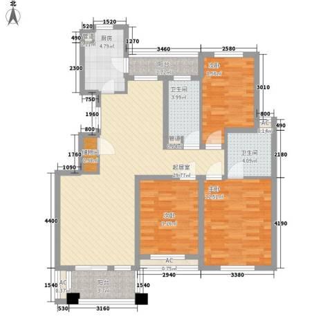 新浦花园3室0厅2卫1厨121.00㎡户型图