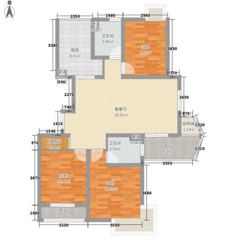浦发博园别墅3室1厅2卫1厨128.00㎡户型图