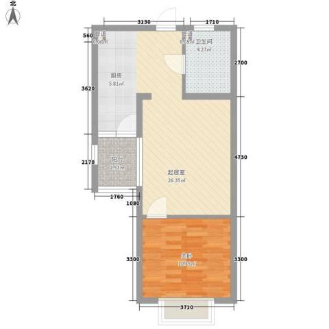 新浦花园1室0厅1卫0厨64.00㎡户型图