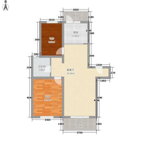 上地公寓2室1厅1卫1厨96.00㎡户型图