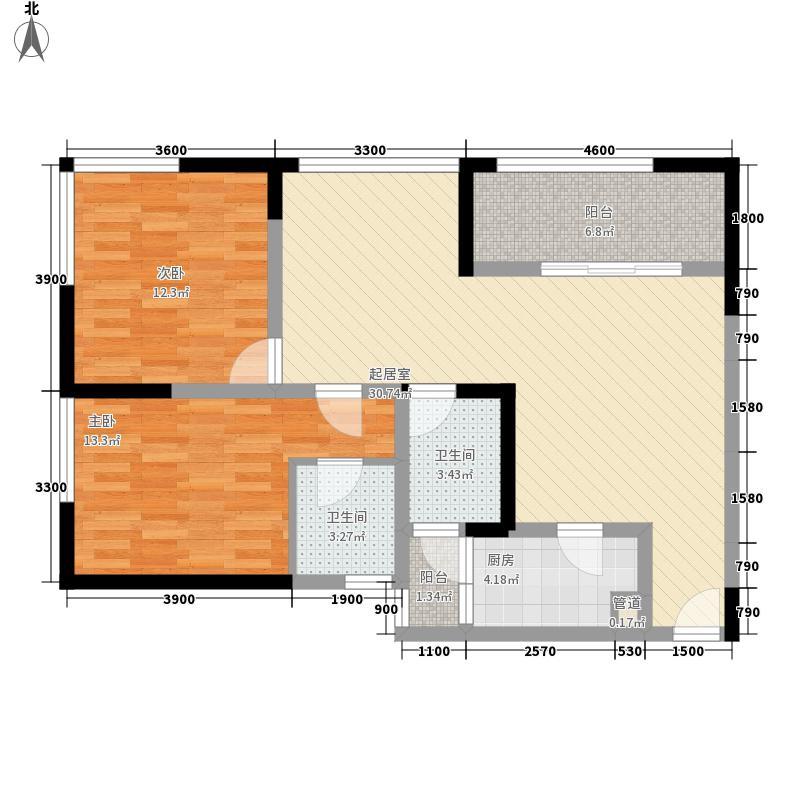 润莱金座1、2号楼C2-a户型3室2厅2卫1厨