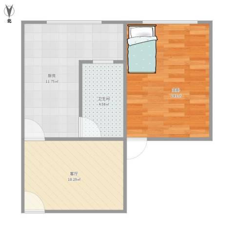 广灵四路280弄小区1室1厅1卫1厨55.00㎡户型图