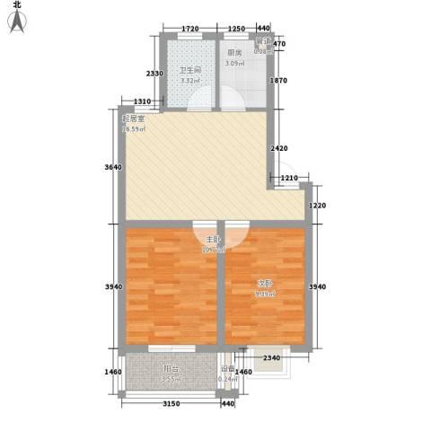 上海花园2室0厅1卫1厨69.00㎡户型图