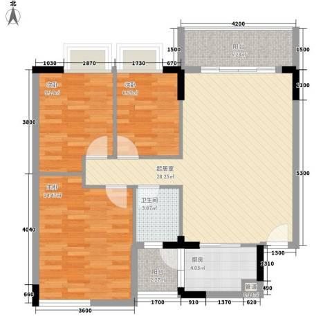 翡翠园山湖居二期3室0厅1卫1厨83.00㎡户型图