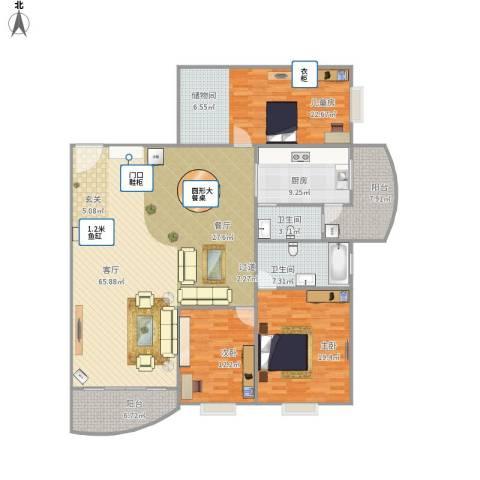 飞龙山庄3室1厅2卫1厨162.77㎡户型图