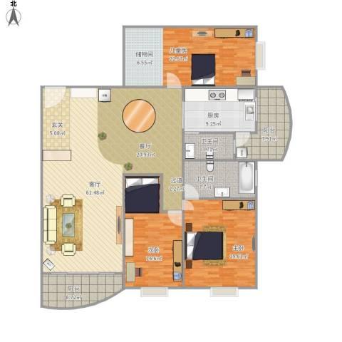 飞龙山庄3室1厅2卫1厨163.88㎡户型图