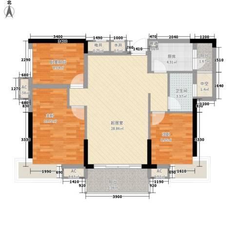 海逸・锦绣公馆2室0厅1卫1厨89.00㎡户型图