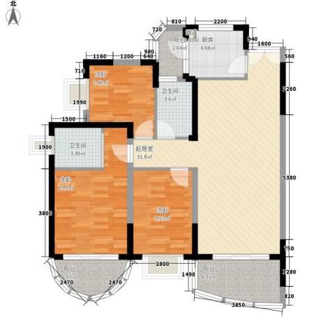 丽湖山庄3室0厅2卫1厨85.39㎡户型图