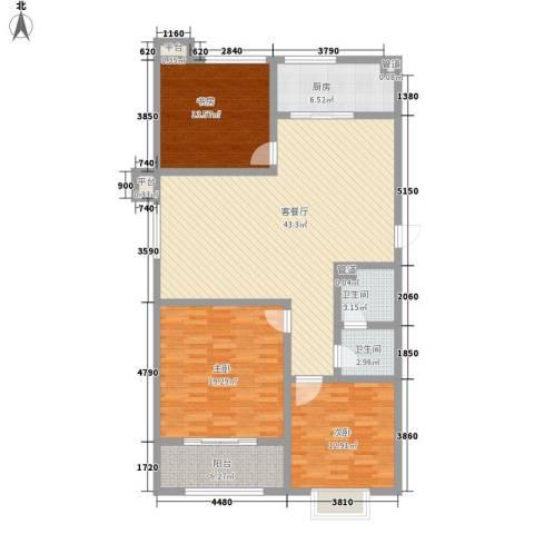 宝龙花园3室1厅2卫1厨123.00㎡户型图