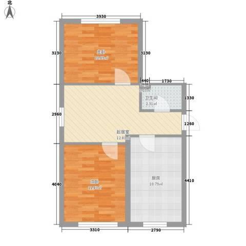 荣兴新越2室0厅1卫1厨69.00㎡户型图
