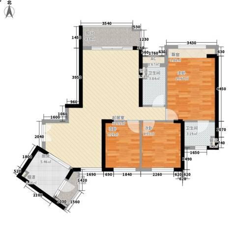 锦绣银湾别墅3室0厅2卫1厨121.00㎡户型图