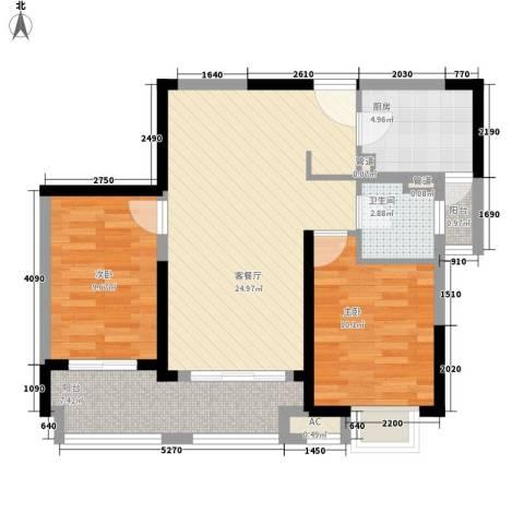 大华锦上城2室1厅1卫1厨90.00㎡户型图