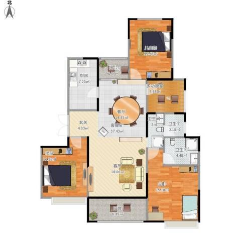 绿地新都会3室1厅2卫1厨143.00㎡户型图