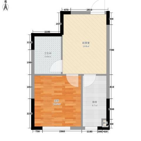 爵士公馆1室0厅1卫1厨46.00㎡户型图