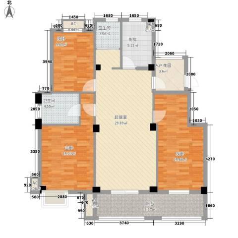 丽景花园3室0厅2卫1厨138.00㎡户型图