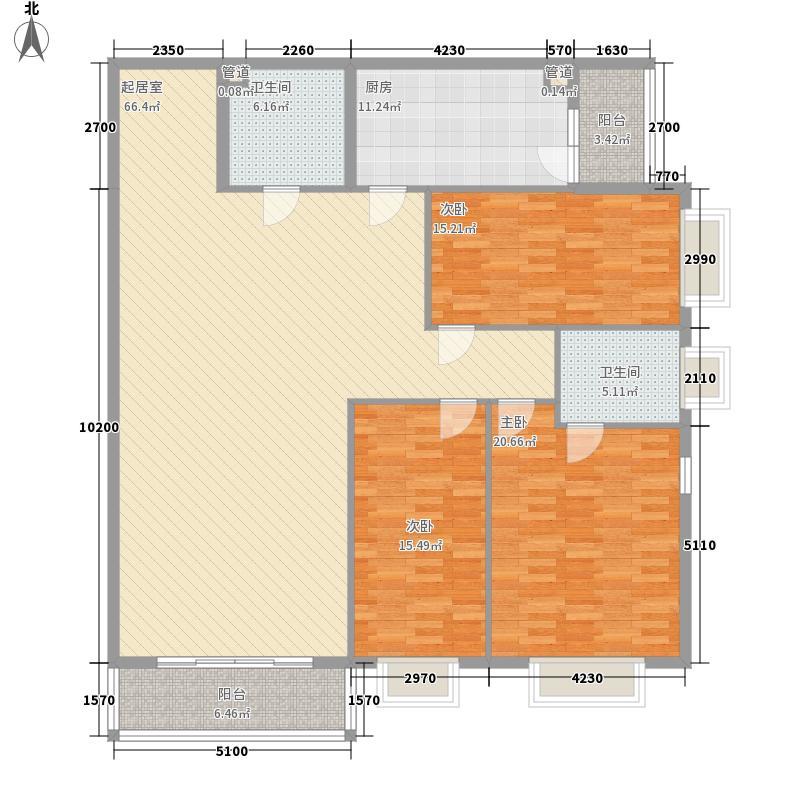 都市胜景户型2室2厅1卫1厨